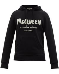 Alexander McQueen グラフィティロゴ コットンスウェットパーカー - ブラック