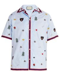 Gucci - Motif-embroidered Bowling Shirt - Lyst
