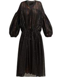 LOVE Binetti Striped Cotton Midi Dress - Black