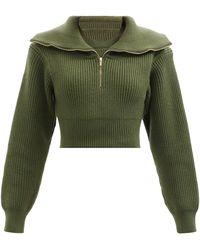 Jacquemus リズール セーラーカラー ウールクロップドセーター - グリーン
