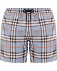 Burberry Short de bain à carreaux - Bleu