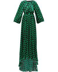 Halpern Robe de soirée en satin à pois et manches ballon - Vert