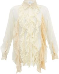 Burberry Ruffled Pleated Silk-crepe Blouse - Natural