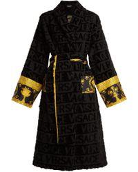 Versace Logo Jacquard Baroque Print Cotton Bathrobe - Black