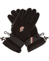 Moncler Grenoble Leather And Canvas Ski Gloves
