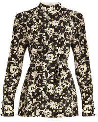 Valentino - Circle Flower-print Silk Crepe De Chine Top - Lyst