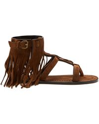 Saint Laurent - Nino Suede Fringed T Bar Sandals - Lyst