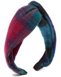 Benoit Missolin Rebecca Knotted Tartan Wool Headband - Multicolor