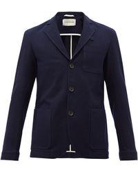 Oliver Spencer ウールブレンドヘリンボーン シングルジャケット - ブルー