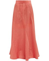 Ganni Paneled Gingham Seersucker Maxi Skirt - Red