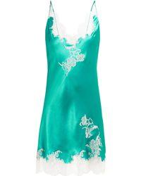 Carine Gilson Lace Trimmed Silk Satin Slip Dress - Blue