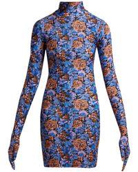 Vetements - Floral-print Glove-sleeve Jersey Dress - Lyst