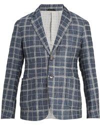 Giorgio Armani   Single-breasted Checked Linen-blend Blazer   Lyst