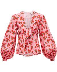 Borgo De Nor Chloe Rose-print Tie-front Cotton Blouse - Pink