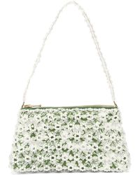Shrimps Dawson Floral-beaded And Faux-pearl Bag - Green