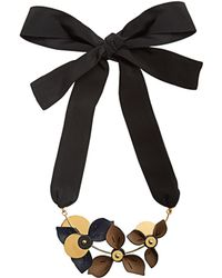 Marni - Floral Leather-petal Self-tie Necklace - Lyst