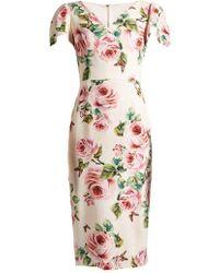Dolce & Gabbana - Rose-print V-neck Stretch-cady Dress - Lyst
