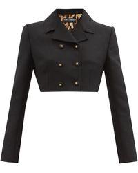 Dolce & Gabbana スペンサー ウール クロップドダブルジャケット - ブラック