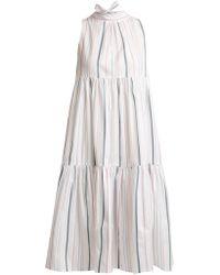 Asceno - Striped Neck Tie Cotton Dress - Lyst
