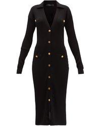 Versace リブニット カーディガンドレス - ブラック