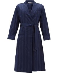 Derek Rose Lingfield Cotton-striped Bathrobe - Blue