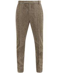 Deveaux Jasper Prince Of Wales-check Wool-blend Pants - Gray