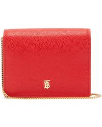 Burberry Jessie Leather Card Case With Chain - Red