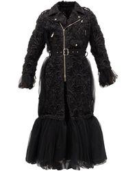 Noir Kei Ninomiya Peplum-hem Floral-appliqué Tulle Coat - Black