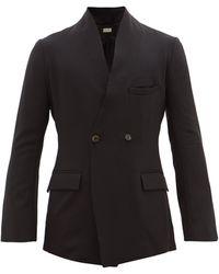 BED j.w. FORD Vネック ウールクレープジャケット - ブラック
