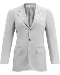 Umit Benan B+ Andy Single-breasted Silk-faille Jacket - Blue