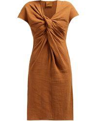 Loup Charmant Gilgo Cotton-gauze Mini Dress - Brown