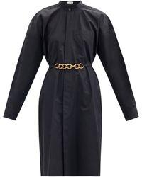 Givenchy チェーンベルト コットンポプリンシャツドレス - ブルー