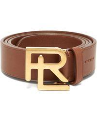 Ralph Lauren Purple Label Monogram-buckle Leather Belt - Brown