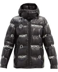 7 MONCLER FRAGMENT Logo-print Down Quilted-shell Jacket - Black
