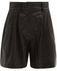 Dolce & Gabbana ハイライズ タック レザースーツショートパンツ - ブラック