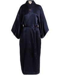Chufy Embroidered Silk Kimono-style Jacket - Blue