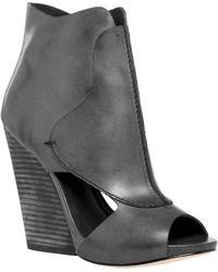 Leon Max - Eagle : Waxed Leather High Heel Wedge Peep Toe Booties - Lyst