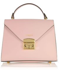 Le Parmentier Peggy Leather Top Handle Satchel Bag - Pink