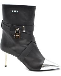 MSGM Black Leather Ankle Boots