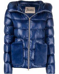 Herno Kapuzenjacke aus Faux Fur - Blau