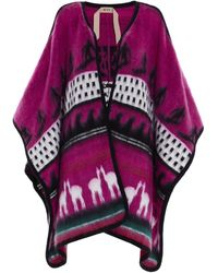 N°21 Wool Poncho - Purple