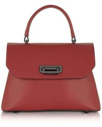 Le Parmentier Lutece Burgundy Leather Top Handle Satchel Bag - Red