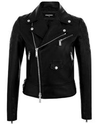 DSquared² Leather Outerwear Jacket - Black