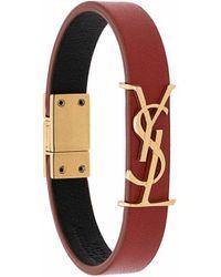 Saint Laurent - Goldfarbenes Armband Aus Lackleder - Lyst