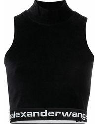 Alexander Wang Top smanicato con banda logo in nero - donna