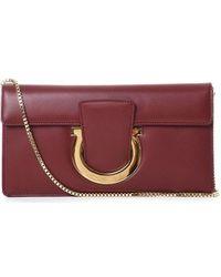 Ferragamo Burgundy Leather Pouch - Multicolour