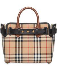 Burberry Baby Belted Vintage Check Satchel Bag - Natural