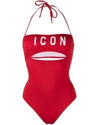DSquared² Costume intero con allacciatura al collo - Rosso
