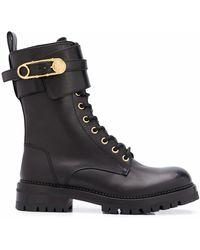 Versace Stiefel im Military-Look - Schwarz