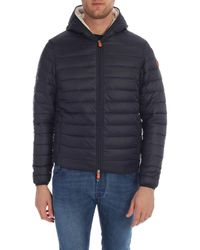 Save The Duck Dark Blue Quilted Down Jacket Eco Fur Detail